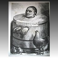 Antique 19th C Century Print/Engraving CHINESE Prisoner in Bucket with Chickens Signed RARE!