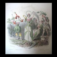 Antique GRANDVILLE French Print Engraving 19th C Century Lady Flowers Signed WOW