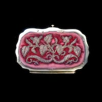 Antique 19th C Napoleon III Metallic Embroidered FRENCH Coin Purse DIVINE!