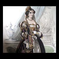 Antique 19th C Century LISTED French Print/Engraving w Watercolor RENAISSANCE Lady Signed DIVINE!