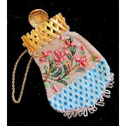 Antique 19th C Century French NAPOLEON III Beaded Lady Purse ORNATE Gilt Fastener DIVINE!