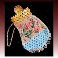 Antique 19th C Century French NAPOLEON III Beaded Lady Purse ORNATE Gilt Fastener DIVINE!