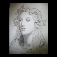 Antique Drawing French Art NOUVEAU 19th C Century Charcoal Portrait of a Young Woman BREATHTAKING
