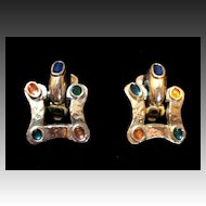 Vintage Guy LAROCHE Small Dangle Clip Earrings with COLOR ENAMEL Signed Very REFINED!