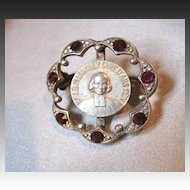 Antique 19th C Century French GEORGIAN Small Religious Pin Brooch Scalloped Border with Garnets SO PRETTY!