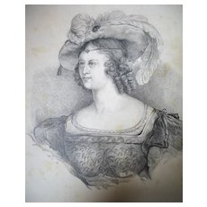 Antique 19th C Century GEORGIAN Aristocratic Lady Portrait Charcoal Drawing SIGNED Dated BREATHTAKING!