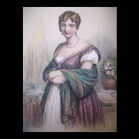 Antique French EMPIRE Print Lithograph with Watercolor Portrait of QUEEN Hortense 19th C  Century Signed EXQUISITE!