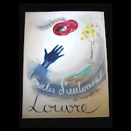 Vintage 40s 50s French SURREALIST Watercolor For Le Louvre Stores FABULOUS!