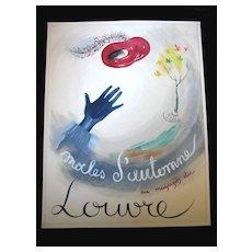 Vintage 40s 50s French SURREALIST Watercolor For Le Louvre Stores FABULOUS!