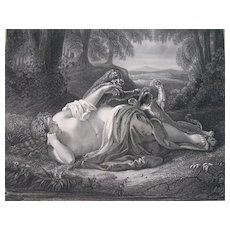 Antique LISTED German Print Engraving NUDE Nymph Playing w Panthers 19th C Century Signed FABULOUS!