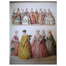 Antique Victorian Print Lithograph FRENCH Fashion Dresses 19th C Century Large TO DIE FOR