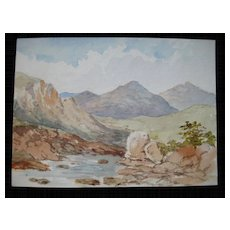 Antique Victorian Watercolor Painting Scotland Scottish Mountains DELIGHTFUL!