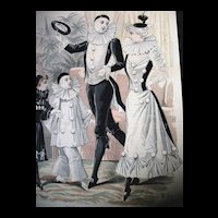 Antique French Art Nouveau Print Lithograph PIERROT Columbine Hand Watercolor Signed DIVINE!