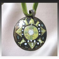 Vintage 70s Fabulous BOHO Hippie Chic ENAMEL Pendant Necklace LARGE!