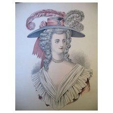 Antique French Print Lithograph Watercolor 19th C Century Louis XVI Marie Antoinette Portrait MAGNIFICENT
