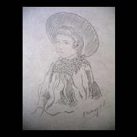 Antique GENUINE 1880s Impressionistic Drawing French or English Girl Portrait Signed DIVINE!