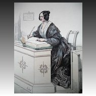 Antique Victorian French Print Engraving With Watercolor Signed 1850 Receptionist!