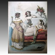 Antique Georgian French Empire Print Engraving with Watercolor Noble Ladies Signed LISTED FANTASTIC!