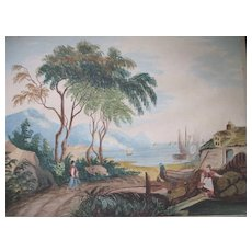 Antique 19th C NAPLES Watercolor Landscape Painting Village Volcano Characters VERY POETIC!