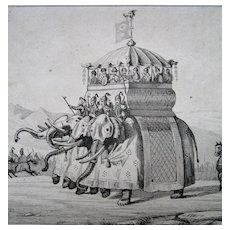Pair GEORGIAN Prints Small Engravings CHINESE EMPEROR Palace Elephants FABULOUS Scenes!