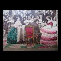 Antique French VICTORIAN 1870 Photo Dinner Scene Napoleon III ORIGINAL Colors!