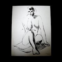 Vintage WWII French NUDE Ink Drawing Picasso Feel Signed POWERFUL!