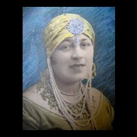 Vintage 20s DECO Oversized Bollywood Photo Lady Portrait Signed Very RARE!