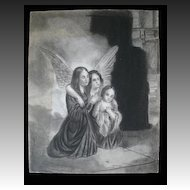 Antique Charcoal Drawing FRENCH Revolution 3 SISTERS Hugging in Jail 18th C Century LARGE Signed VERY RARE!