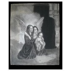 Antique FRENCH Revolution Charcoal Drawing SISTERS Hugging in Jail LARGE Signed VERY RARE!