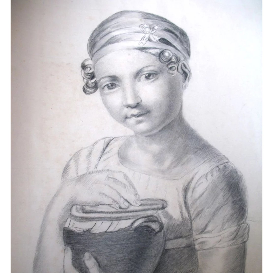 Antique Charcoal Drawing French Victorian Large Girls Portrait