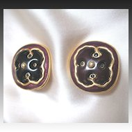 Vintage Guy LAROCHE Large Enamel Clip Earrings Signed Very COUTURE!