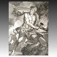 Antique 18th C Century Print Engraving of a Very  Handsome Nude VULCAN POWERFUL!