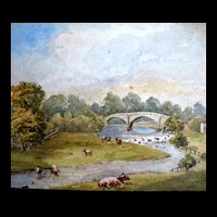 Antique English Small Watercolor Painting 19th C Century Houses River Cows EXQUISITE!