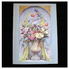 Vintage 40s Print FANTASTIC Floral Flower Bouquet Signed
