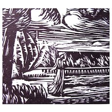 Vintage French Art DECO Print Woodcut 20s DROUART LISTED Artist!