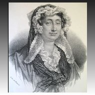 Antique Print Lithograph Famous French Woman POET 19th C Century LISTED Artist!