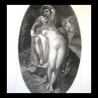 Antique French Print NUDE by A Glaize LISTED Artist 19th C Century MAGNIFICENT!