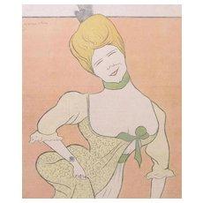 Antique French Art NOUVEAU Print Litho Fun Portrait World FAMOUS CAPPIELLO!