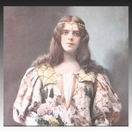 Antique French Art Nouveau Print Photogravure 19th C Century FLOWER Girl!