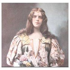 Antique French Art Nouveau Print Photogravure 19th C Century FLOWER Girl!