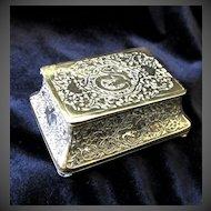 Antique Art NOUVEAU Box Small Casket Carved Brass 19th C Century EXQUISITE!