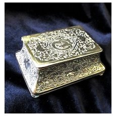 Antique Art NOUVEAU Box Small Casket Carved Brass 19th C Century EXQUISITE!