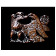 Antique French Napoleon EMPIRE EAGLE With Crown Wood Carving Sculpture Very RARE!