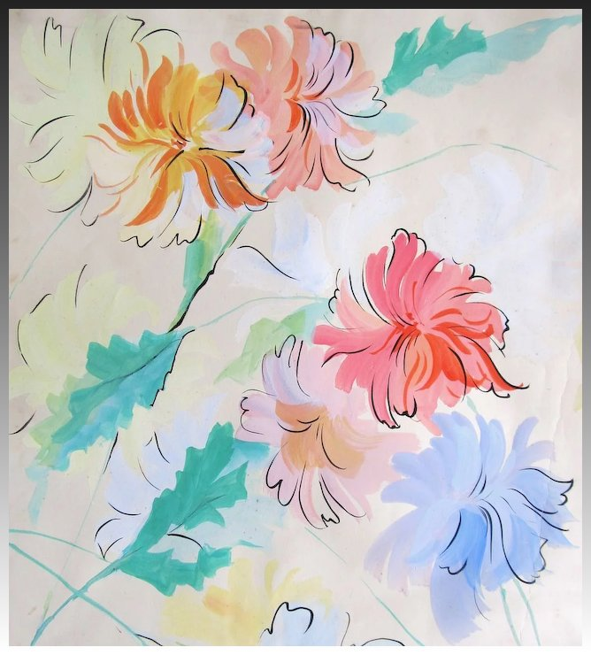 vintage french art deco watercolor painting large floral flowers