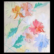 Vintage French Art DECO Watercolor Painting LARGE Floral Flowers RARE!