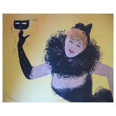 Antique Art NOUVEAU Print Lithograph Belgian Cabaret LADY Signed LISTED ARTIST!