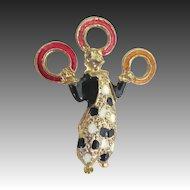 Vintage Large FIGURAL Pin Brooch Enamel Juggler With Rings FABULOUS!
