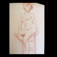Antique French Art NOUVEAU NUDE Drawing Sepia Sanguine 19th C Century Signed FABULOUS!