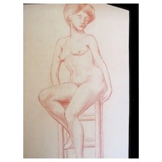 Antique French Art NOUVEAU NUDE Drawing Sepia Sanguine 19th C Century Signed FABULOUS!