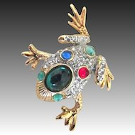 Vintage ANIMAL Pin Brooch Small Bejeweled FROG Colored Crystals Rhinestones ADORABLE!